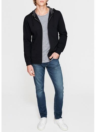 Mavi Fermuarlı Sweatshirt Siyah